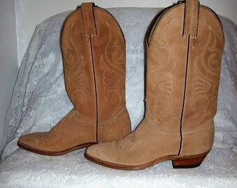 Vintage Ladies Tan Suede Leather Western Cowboy Boots by Abilene Size 6 Only 17 USD