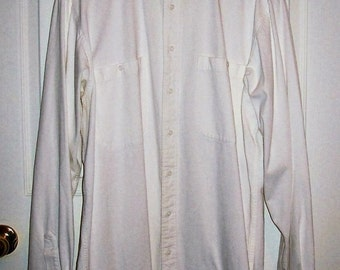 Vintage Men's White Pinwale Corduroy Collarless Shirt by Cotton Brothers Large Only 12 USD