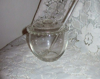 Vintage Candlewick Covered Marmalade Mustard Condiment Jar w/ Spoon by Imperial Glass Only 20 USD
