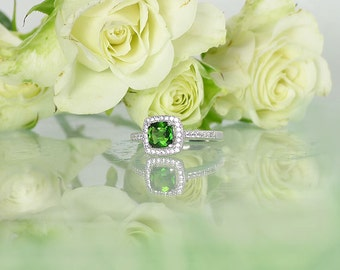 Green Tourmaline Ring, Tourmaline Ring, Tourmaline Sterling Ring, Natural Tourmaline Ring, Tourmaline Halo Ring,  Green Gemstone Ring