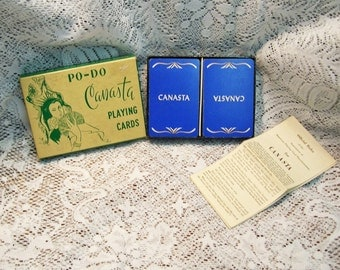 SALE  Vintage Po-Do Canasta Double Deck Playing Cards with Instructions