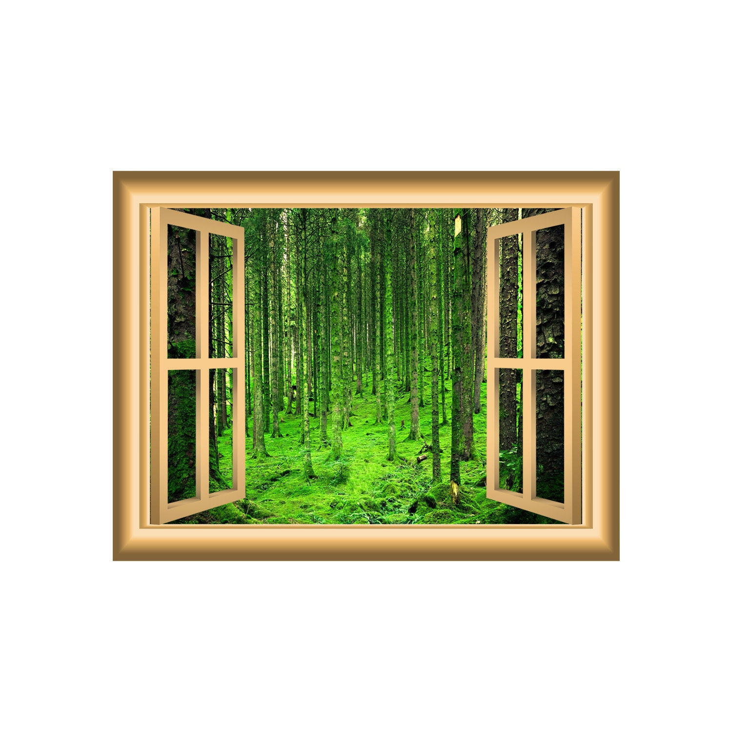mossy forest nature 3d wall art decal forest window frame peel zoom