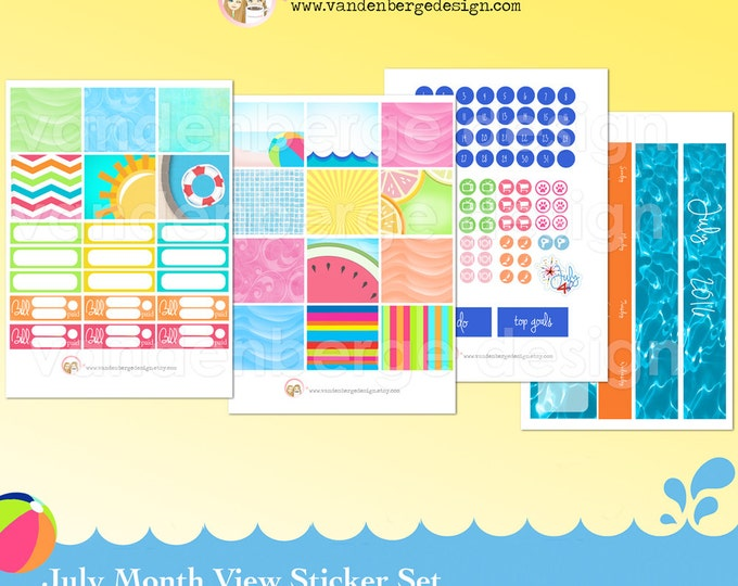 July Month View Kit for Erin Condren Life Planner or The MAMBI Happy Planners