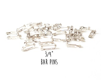 10 pieces - 3/4 Inch Bar Pin - Glueable Pad - Brooch - for Covered Buttons and Other Glueable or Sewable Findings - 3/4""