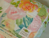 modern patchwork squares baby blanket vintage sheet heirloom keepsake quilt - pink white blue orange green floral