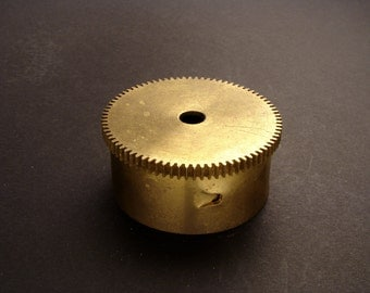 Large Brass Cylinder Gear, Mainspring Barrel from Vintage Clock Movement, Vintage Clockwork Mechanism Parts, Steampunk Art Supplies 03910