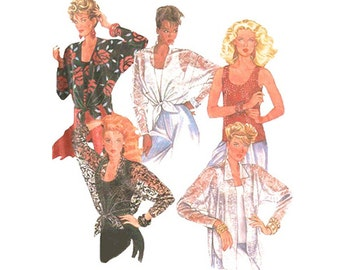 Sexy Tie Shirts and Tank Tops Bust 34-38 Easy to Sew 1980s Uncut Vintage McCalls Sewing Pattern 2260 Tie Front Tops Sheer Over Blouse