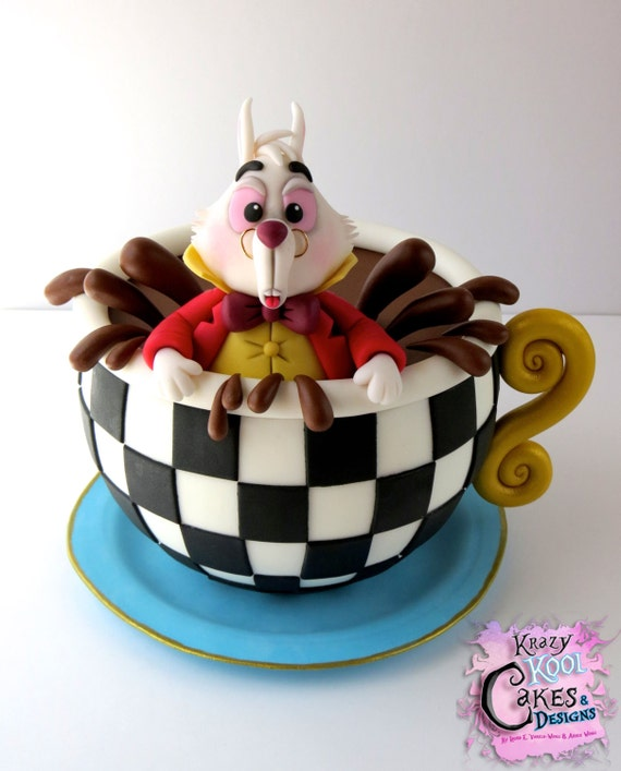 wedding cake toppers alice in wonderland white rabbit in teacup cake topper from in 26376