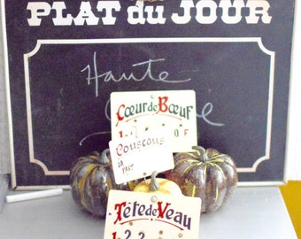 Vintage French Price Tags Deli Markers Food Prop Photography Prop Sign Francs - FREE DOMESTIC SHIPPING