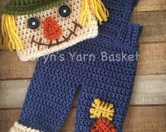 READY TO SHIP Newborn Scarecrow Fall Halloween Crochet Costume, Boy/Girl Photo Prop, Baby Shower Gift, Newborn, 0-3 Months