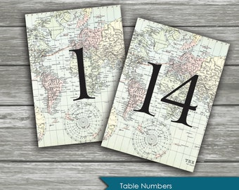 TABLE NUMBERS: Vintage Travel Map Bridal Shower - Custom - blue teal pastel - Journey - DIY Printable Wedding Table Number Signs 5x7 inches