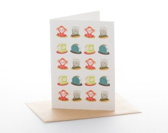 """Greetings card: """"How dy'a like your toast in the morning?"""" Size A6 with envelope"""