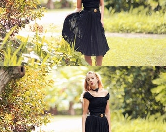 Vintage 50s Black Dress Bow Pleated Fitted Swing Party Dress