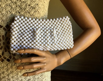 vintage White Clutch 1960s wedding Hand Made in Hong Kong lined cut Multifaceted beaded evening bag