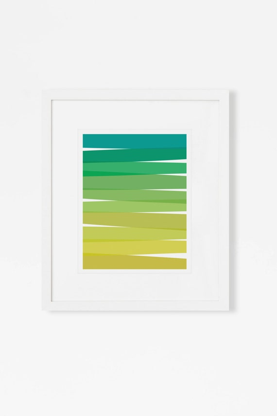 Abstract Art Print - Green Ombre Artwork - Mid Century Modern Wall Art - 5x7 8x10 11x14 Vertical Art for Living Room, Nursery, Office