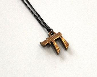Chai Necklace, Wood Grain Design, 3d Printed Steel