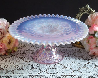 Fenton Pink Opalescent Spanish Lace Cake Stand - Rare Pink Opalescent Spanish Lace Cake Stand - Pink Spanish Lace Cake - Pink Cake Stand
