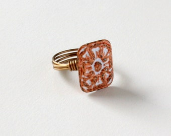 Rustic Button Ring, Whitewash Ring, Orange Rust Ring, Statement Ring, Rustic Jewelry, Metal Button Ring, Rectangle Ring, Wire Wrapped Ring