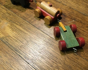 Vintage Wood Toy Train Drawn by Horses