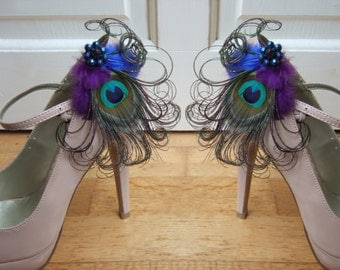 """Bridal Peacock Feathers Purple Royal Blue Shoe Clips / Bag Clips """"Allana"""" (Pair) - 2 Days To Make - Bride Bridesmaid Mother of the Bride"""