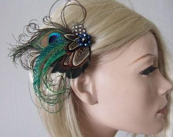 "Peacock + Pheasant Feather Fascinator Hair Clip - Party or Bridal Wedding ""Ama"" - 1 Day to Make - Bridesmaids Bride Rustic Wedding Gatsby"