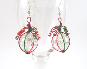 Dark Red Green and Red Wire Wrapped Fried Marble Earrings, Sparkly, Christmas Style