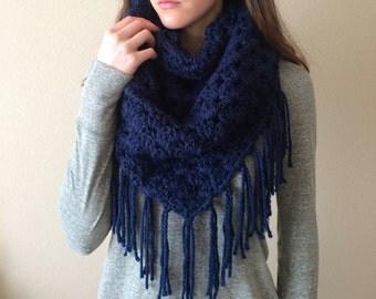 Chunky Crochet Fringe Scarf, Big Triangle Shawl | Dark Navy Blue | Vegan Yarn