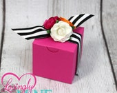 Favor Boxes in Hot Pink, White and Orange Paper Roses with Black & White Stripes Ribbon - Set of 10 - Baby Shower, Bridal Shower, Birthday