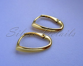Luxury Interchangeable Oval Lever back Ear Wire Gold Vermeil Sterling Silver 925 Bestseller model ES103 AU