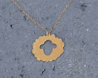 Sheep Necklace , Sheep Pendant , Sheep Charm , Sheep Jewelry , Lamb Necklace , Lamb Jewelry , Animal Necklace , Gold Charm Necklace