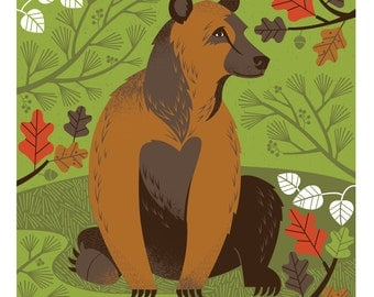 """A Bear in the Woods - 11""""X11"""" print"""