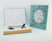 The SECRET GARDEN book safe, hollow book box, leather bound gold hollow book safe, Celadon blue nursery decor, Gardener gift
