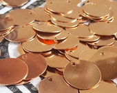 Copper Blanks Discs 1 inch Circles Coin Beads, 20 Piece Unfinished Surface With Holes, Pure Solid Copper, Metalworking Supplies, reclaimed