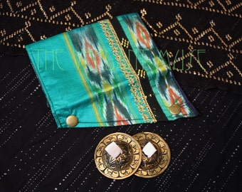 Small Assuit Zills Bag- Bright Aqua Green, Gold, and Black Assiut Zils Pouch