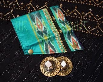 Small Assuit Zills Bag- Bright Aqua Green, Gold, and Black Assiut Zils Pouch