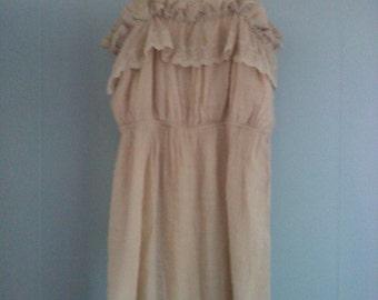 Vintage champagne dress, ruffle dress, size 4