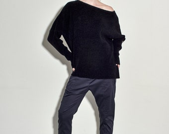 Women Pullover Black Sweater - Oversized Black Sweater - Rib Sweater - Free Shipping