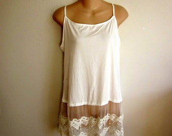 Camisole cami slip extender white lace sexy  lingerie S M