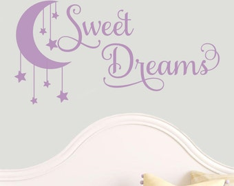 Sweet Dreams Moon Hanging Stars Nursery Quote Baby Bed Wall Decal Vinyl Sticker