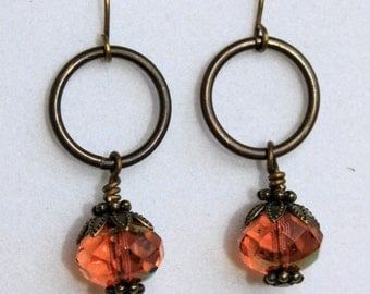 Brass and Peach Czech Crystal Drop Earrings,  Handmade Jewelry, Gift for Her, Bohemian Bead Earrings