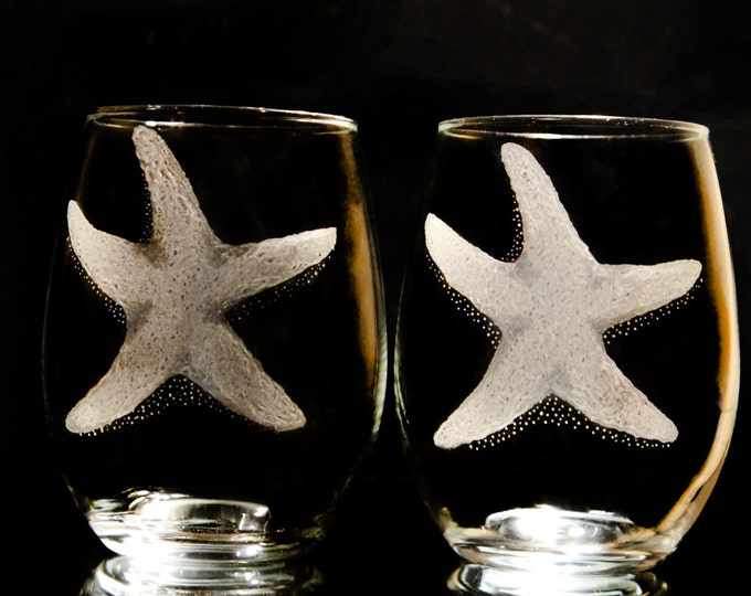 stemless starfish wine glasses  beach wine glass set  hand engraved glass star fish
