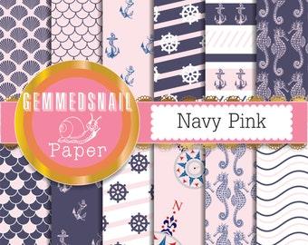 Nautical digital paper, pink and navy digital paper, navy pink nautical patterns x 12
