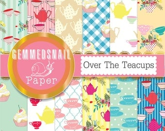 Cupcake digital paper. Tea party digital paper 'over the teacups' garden party paper pack, tea party backgrounds x 12