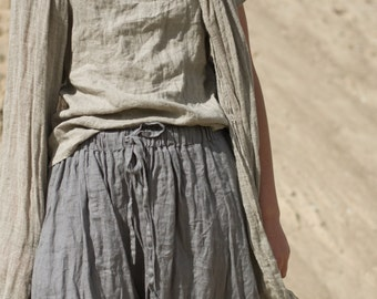 LONG LINEN SKIRT with side pockets / custom length