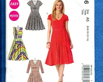McCalls 436 Fitted V Neck Bodice Flared Dress Size 6  8  10 12 14 UNCUT