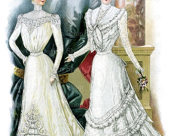 Victorian Bride Clip Art Printable Vintage Wedding Illustration Digital Download JPG Image