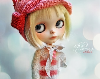 STRAWBERRY CANDY Ooak BLYTHE Hat By Odd Princess Atelier, Hand Knitted Collection