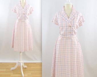 Pastel Picnic Shirtdress - Vintage 1960s Full Skirt Day Dress in Pink and Mauve Plaid - Medium Large