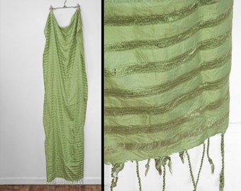 Striped Silk Scarf Fringed Ends // Granny Smith Apple Green 32 x 72
