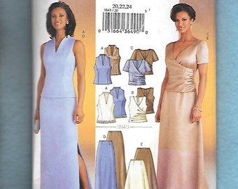 Butterick 3843 Misses' Long Skirts, and Matching Tops, Great For The Opera, or Mother of the Bride, Sizes 20,22,24 UNCUT